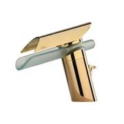 73OP211VR Morgana смеситель для раковины с д/к, корпус золото PVD, излив стекло