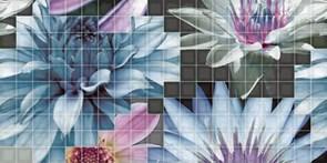25x50 Decorado Mosaico Blanco Flor 1