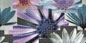 25x50 Decorado Mosaico Blanco Flor 2