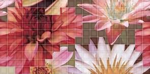 25x50 Decorado Mosaico Crema Flor 1
