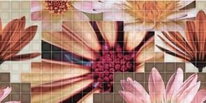 25x50 Decorado Mosaico Crema Flor 2